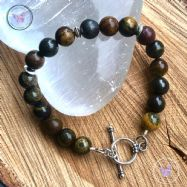 Tiger Iron Bracelet With Silver Toggle Clasp